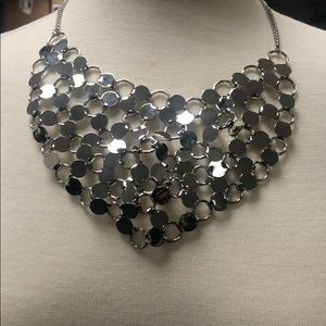 Silver Mesh Chain Linked Bib Statement Necklace